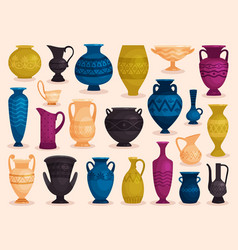 Set of colored antique vases vector