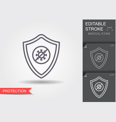 shield protecting from virus line icon vector image