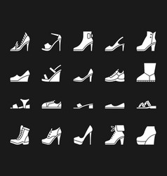 shoes white silhouette icons set on black vector image
