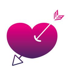 silhouette arrow design inside heart love icon vector image
