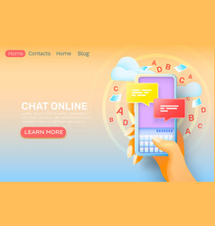 smartphone chat online application contact dialog vector image