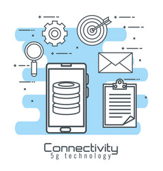 Smartphone with connectivity 5g technology vector