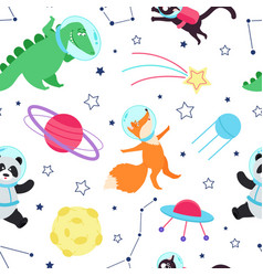 space animals seamless pattern cute animal vector image