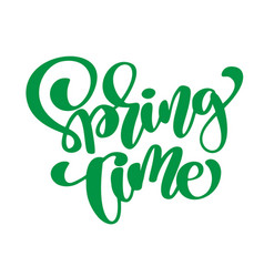 spring time hand drawn calligraphy and brush pen vector image