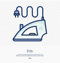 steam iron thin line icon vector image