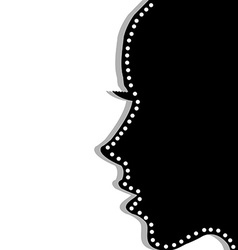 Stylized woman profile over white background vector image