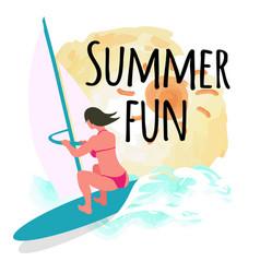 Summer fun postcard sun and windsurfing woman vector