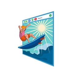 Surfer on Net Window vector image