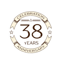 Thirty eight years anniversary celebration logo vector