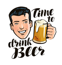 Time to drink beer poster alcohol pub concept vector