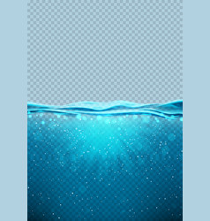 Transparent underwater blue ocean vertical banner vector