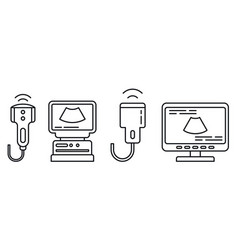 Ultrasound machine icons set outline style vector