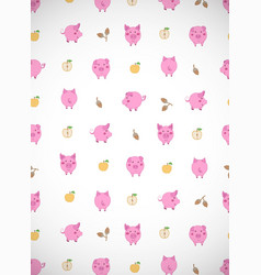 Vertical greeting card with cute cartoon pink vector