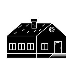village building black icon concept village vector image