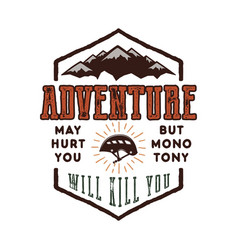 Vintage adventure hand drawn label design vector