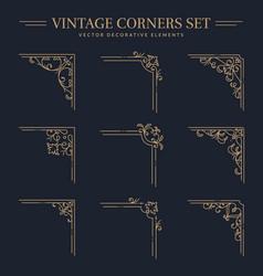vintage corners set decorative elements vector image