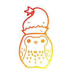 Warm gradient line drawing cute cartoon owl vector