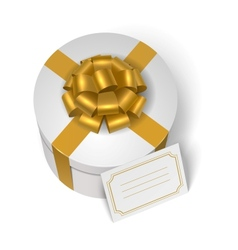 Wedding present box with yellow ribbon and bow vector image