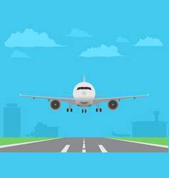 white plane landing on runway airport buildings vector image
