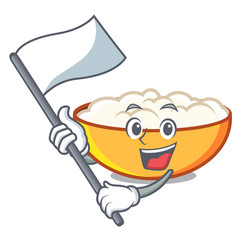 With flag cottage cheese mascot cartoon vector