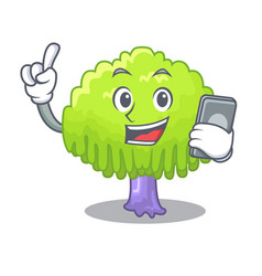 With phone isolated weeping willow on the mascot vector