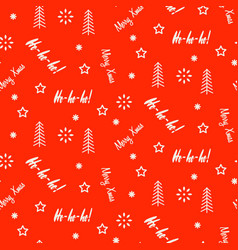 xmas background pattern white icons on red vector image