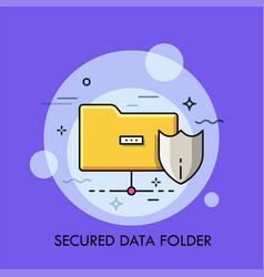 yellow folder and protective shield symbols vector image