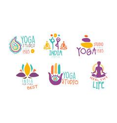 yoga studio logo set healthy life hand drawn vector image