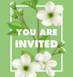 You are invited lettering with white flowers vector