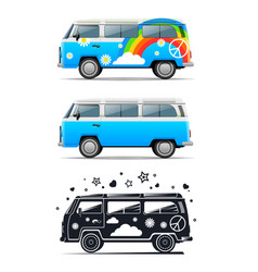classic vintage hippie car peace and love vector image vector image