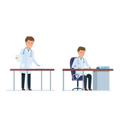 doctor works with personal cards of patients vector image