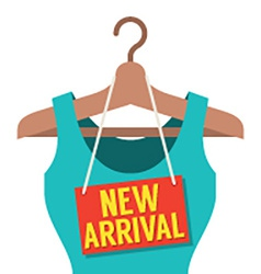 Woman Clothes On Hanger With New Arrival Tag vector image