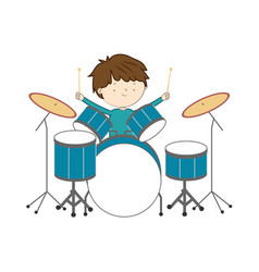 boy playing drums isolated on white background - vector image