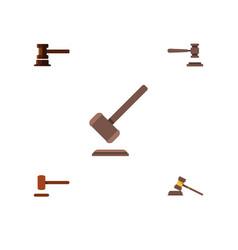 flat icon court set of legal defense tribunal vector image