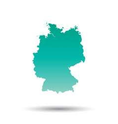 germany map colorful turquoise on white isolated vector image vector image