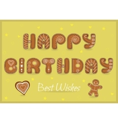 Happy birthday Best wishes Gingerbread font vector image