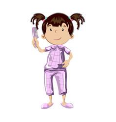 little girl combing her hair vector image