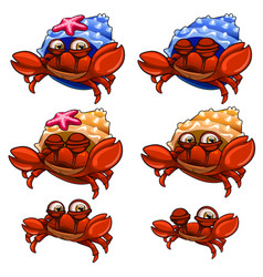 set of crabs in blue yellow shells and without it vector image
