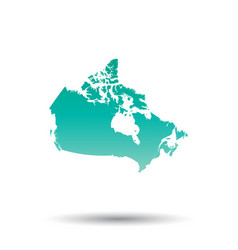 canada map colorful turquoise on white isolated vector image