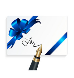 card with blue gift bow and fountain pen vector image vector image
