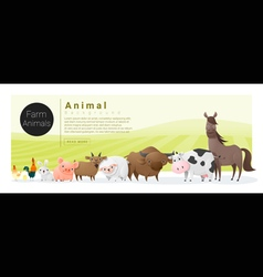 Cute animal family background with farm animals 2 vector