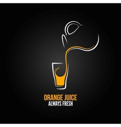 orange juice glass bottle menu design background vector image