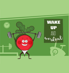 poster of happy radish exercise at a gym healthy vector image