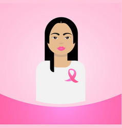 woman with pink ribbon breast cancer awareness vector image vector image