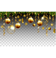 glass christmas evening balls on a transparent vector image vector image