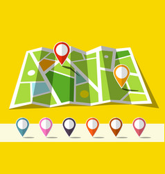 map icon with set of markers vector image vector image