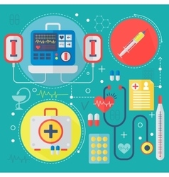 Modern medicine and healthcare services flat vector