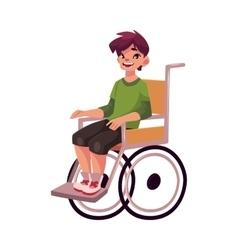 Portrait of happy school kid sitting in wheelchair vector image