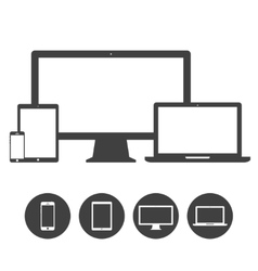 Set of display laptop tablet and mobile phones vector