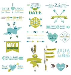 Wedding Graphic Set Arrows Feathers Heart Ribbons vector image vector image
